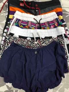 Bundle of 5 branded shorts hurley nike roxy