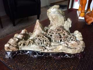 Intricate Shoushan Landscape Carving