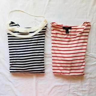 150 each: Zara & Forever 21 Striped Top