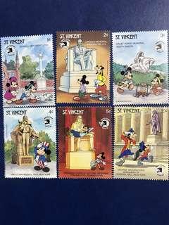 格林達 迪士尼郵票 米奇遊美國系列 6全 外國郵票 mickey Minnie 米奇米妮