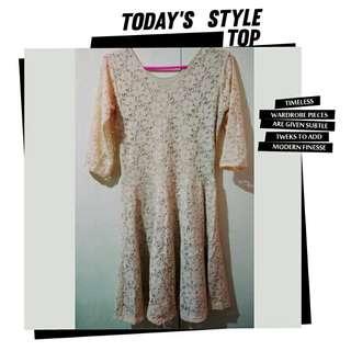 Beige Sweet Lacey Dress