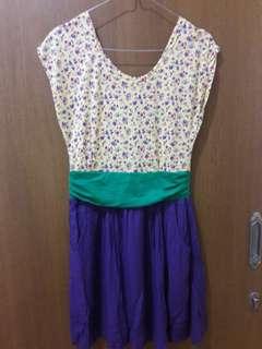 Preloved Midi Dress 2 Warna Fit to L Mat Katun