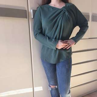 Auth Lanvin green shoulder ruched top