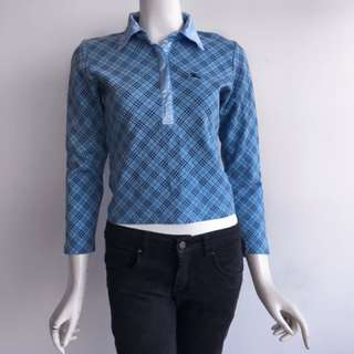 Auth Burberry blue silk collared top
