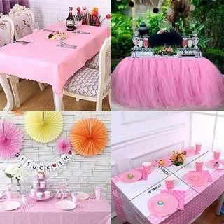 Party Table cloth / Tutu Table Skirt / Plastic / Fabric