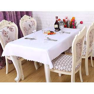 Polyester Fabric Table cloth - White
