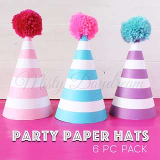 Striped Party Hats Set Of 6