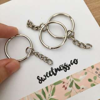 3 pcs silver keyring keychain finding