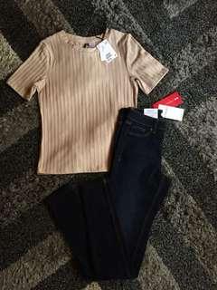 Brandnew H&M Ribbed Top & Brandnew CAMAÏEU SKINNY PANTS