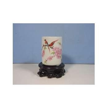 Vintage Jingdezhen porcelain flower bonsai potbirds plum blossoms stand 1970s