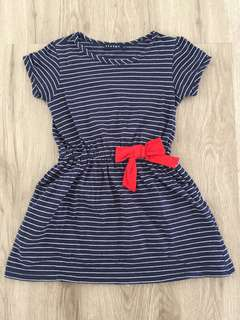 Navy Blue Stripes with Ribbon Dress