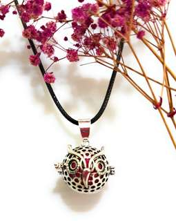 Essential oil Diffuser necklace pendant locket with fur balls