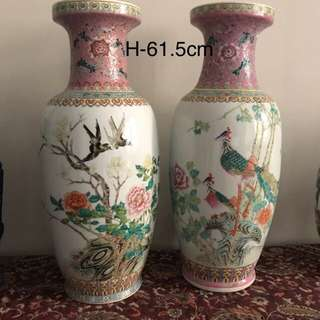 A pair of Porcelain bird vase