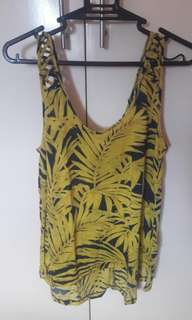 H&M Sleeveless Yellow and Blue Summer Top