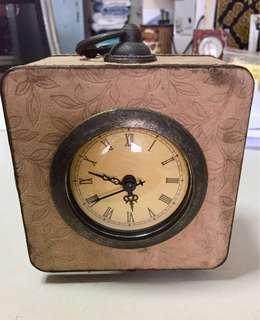 Vintage Victorian Desk Clock Suede