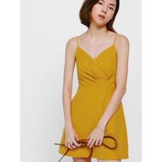 Love Bonito Perzie Crossover Mini Dress Mustard XL