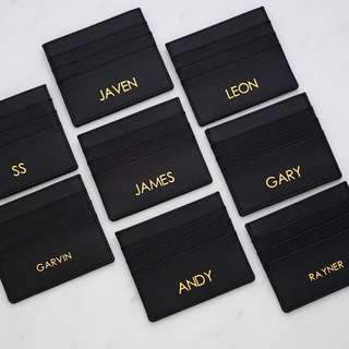 LM010 - Black Custom Safiano Cardholder Faux Leather 7 Slots Free Monogram Personalise Your Name or Initial - Made To Order-Multi colours to choose-6mm or 9mm text height in gold