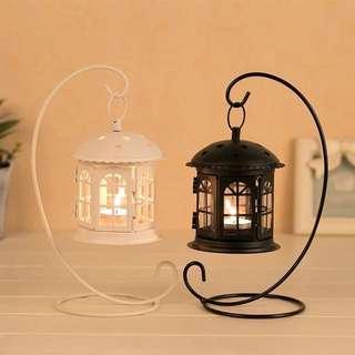 全新北歐經典防風懸挂式燭台玻璃門餐廳燭光晚餐擺設風油燈結婚用品簽名台一個白色