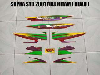 Striping Supra STD 2001 Full Hitam ( Hijau )