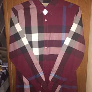 Burberry Shirt long sleeve in Maroon