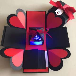 Diy explosion box with lighthouse , 4 waterfall in black & red