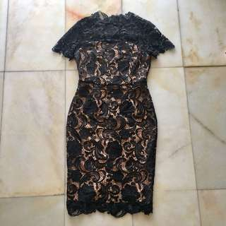Doublewoot Black & Nude Lace Dress