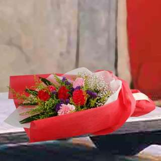[FREE DELIVERY] 6 Mixed Carnations Hand-bouquet (005-CR)