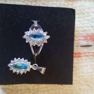 Preloved Aquamarine Ring with Pendant