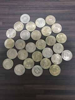 (Only $4 each) Singapore Lion $1 coins (29 Pieces) 1967, 1968