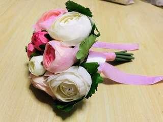 Faux bouquet flower - Pink & White (bridal)