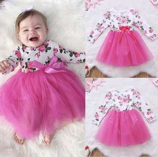 Baby Girl Tutu Dress Pink Floral Flower Girl Wedding Party Long Ribbon [PO]