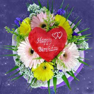[FREE DELIVERY] 3 Pink & 3 Yellow Gerberas with Happy-birthday Tag Hand-bouquet (014-GB)