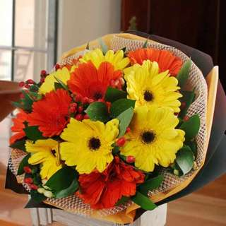 [FREE DELIVERY] 12 Mixed Gerberas Hand-bouquet (019-GB)