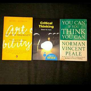 3 brain training books :You can if u think you can The Art of Possibility Critical thinking