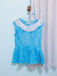 可愛點點風淺藍色上衣