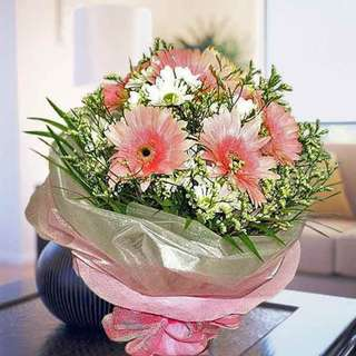 [FREE DELIVERY] 6 Pink Gerberas & Daisies Hand-bouquet  (003-GB)