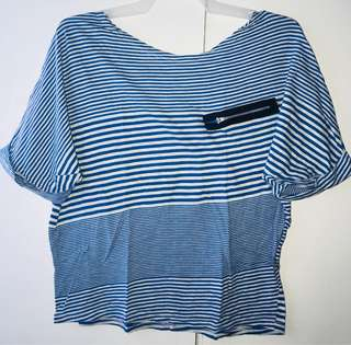 Loose Top in Blue and White Stripes