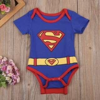 Superman Romper Costume Cape Baby Boy Kids Infant Newborn Superheroes Children [PO]