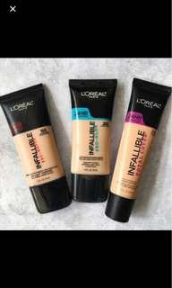 Pre Order LOREAL INFALLIBLE new price (all product LOREAL discount up to 50%, please chat for more info)