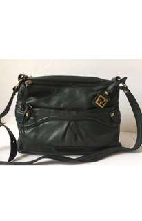 STONE MOUNTAIN Genuine buttery soft Green Leather adjustable Crossbody bag