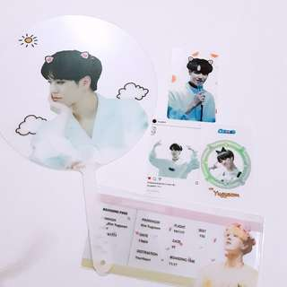GOT YUGYEOM TRANSPARENT FAN SET PHOTOCARD X3 FLIGHT TICKER