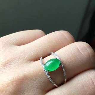 18K鑽石天然A貨陽綠翡翠戒指