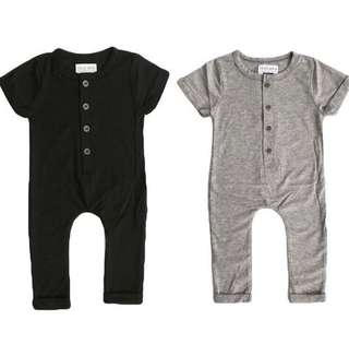 Baby Romper Boy Girl Unisex Grey Black Bodysuit Short Sleeve Kids Infant Newborn [PO]
