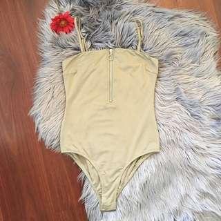 AliveGirl Khaki Zip Front Bodysuit Size 8