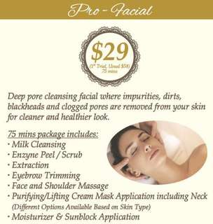 Pro Facial + Deep Cleansing + Mask