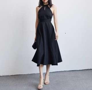 (PO) Classy Halter Keyhole Dress