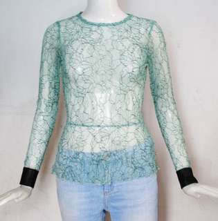 ZARA TRF full lace top with leather cuffs