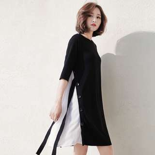 (PO) Chiffon Edge T-Shirt Dress