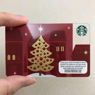 Starbucks Card - Gold Christmas Tree