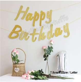 Happy Birthday Glitter Banner (Gold)